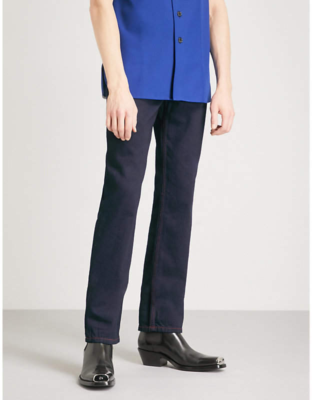 Calvin Klein Contrast-stitch slim-fit straight jeans