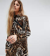 Reclaimed Vintage High Neck Dress With Hook And Eye Detail In Leopard