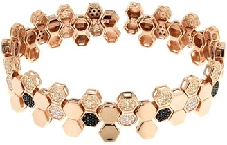 Cosanuova Sterling Silver Honeycomb Bee Bracelet In Rose Gold