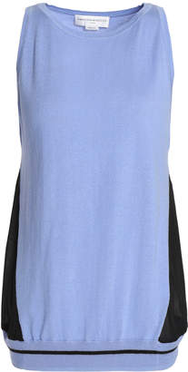 Amanda Wakeley Ray Voile-paneled Silk, Wool And Cashmere-blend Top