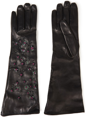 Valentino Bead-embellished Leather Gloves