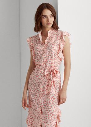 Ralph Lauren Floral Ruffled Crepe Dress