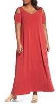 Sejour Plus Size Women's Knit Cold Shoulder Maxi Dress