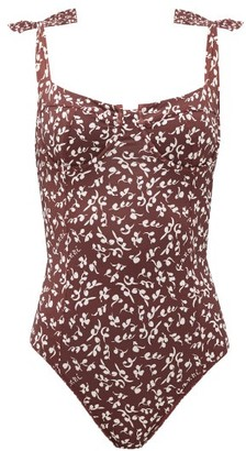 Ganni Bow-strap Floral-print Swimsuit - Womens - Brown Print