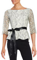 Eliza J Lace Peplum Top