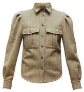 Isabel Marant Florrie Puffed-sleeve Wool-blend Overshirt - Womens - Khaki