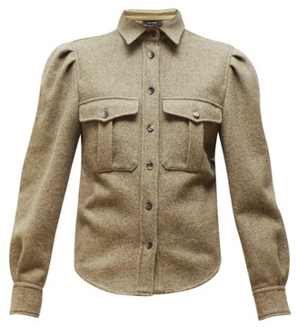 Isabel Marant Florrie Puffed-sleeve Wool-blend Overshirt - Womens - Khaki