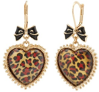 Betsey Johnson Leopard Heart Drop Earrings (Leopard) Earring