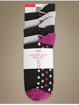 M&S Collection 5 Pair Pack Cotton Rich Ankle High Socks