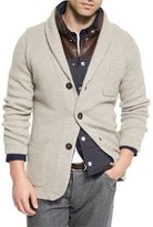 Brunello Cucinelli Ribbed Cashmere Blazer-Style Cardigan, Brown