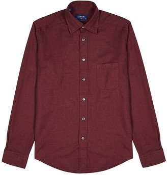 Eton Burgundy brushed cotton shirt