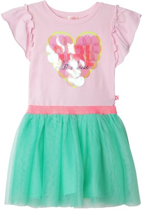 Billieblush Girls Short Sleeve Sequin Heart Tutu Dress - Pink