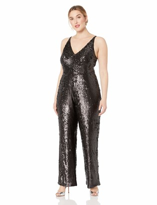 Dress the Population Women's Size Charlie Plunging Sequin Sleeveless Jumpsuit Plus