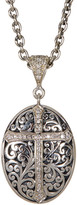 Lois Hill Sterling Silver Pave Diamond Cross Oval Pendant Necklace - 0.008 ctw