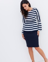 Forcast Charlie Striped Fluted Blouse