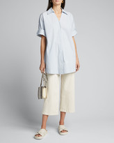Co Oversized Collared Singe-Button Blouse