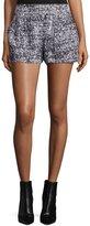 Proenza Schouler Mid-Rise Side-Zip Shorts, Black/White/Ecru