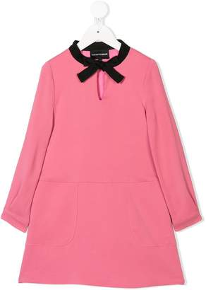 Emporio Armani Kids tie neck dress