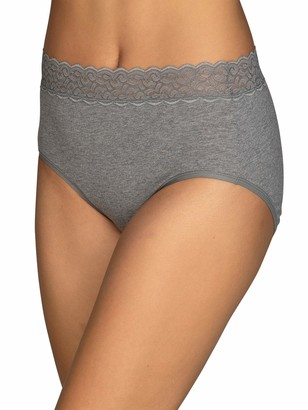 Vanity Fair Women's Flattering Lace Cotton Stretch Brief Panty 13396 Heather Grey Large/7