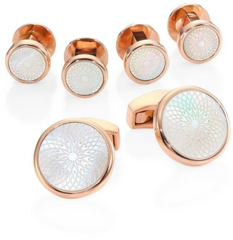 Tateossian Rotondo Guilloche Mother-of-Pearl Rose Goldplated Cufflinks & Shirt Studs Set