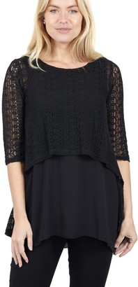 M&Co Izabel layered crochet blouse