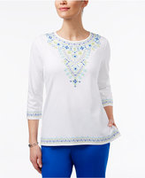 Alfred Dunner Corsica Embroidered Beaded Top