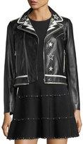 RED Valentino Leather Moto Jacket w/ Star & Lightning Bolt Intarsia