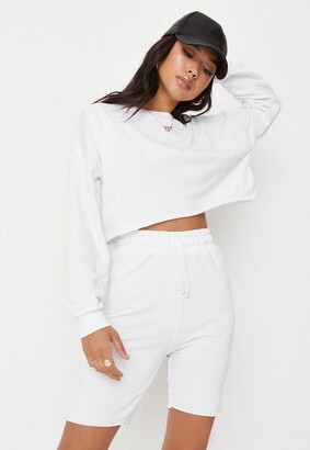 Missguided White Crop Sweatshirt And Drawstring Shorts Co Ord Set