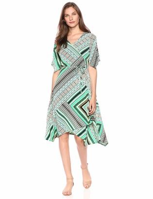 Rafaella Women's Bandana Patchwork Wrap Dress