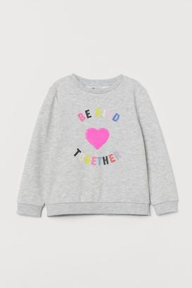 H&M Sequin-design Sibling Shirt - Gray