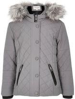 River Island Girls grey hooded quilt jacket