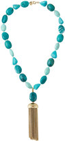 Lydell NYC Beaded Turquoise Tassel Necklace, Blue