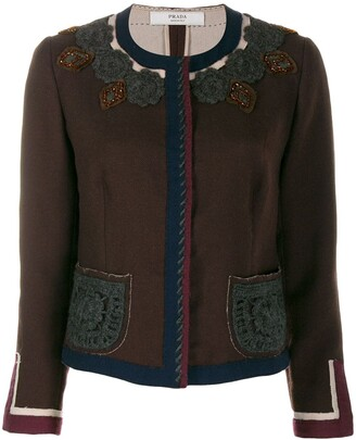 Prada Pre-Owned 1990's crochet appliqué collarless jacket