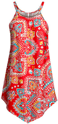 Lily Women's Tunics RED - Red & Aqua Chain-Detail Sleeveless Tunic - Women & Plus