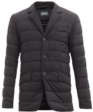 Herno Single Breasted Quilted Down Jacket - Mens - Black