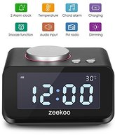 Digital Alarm Clock FM Radio,with Dual Port USB Charger,Indoor Thermometer, Music player,Brightness Dimmer Night light,Dual Alarm, AUX-IN for Kid, Daily Life, Heavy Sleepers By Zeekoo (Black)