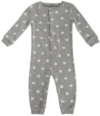 PJ Salvage Baby ROMPER Thermal Hearts HEATHER GREY Small 3 to 6 Months