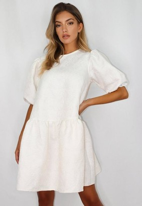 Missguided Tall White Brocade Oversized Smock Dress