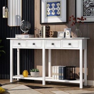 Overstock Rustic Ivory White Entryway Console Table with Drawer