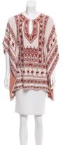 BCBGMAXAZRIA Patterned V-Neck Poncho