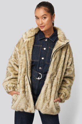 NA-KD Drawstring Faux Fur Jacket
