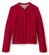 Lands' End Girls Cable Cardigan-Bright Teaberry Plaid