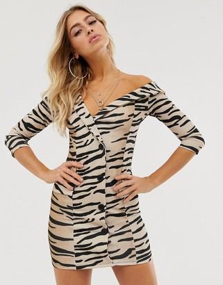 In The Style Ombre Tiger Print Off Shoulder Blazer Mini Dress-Multi