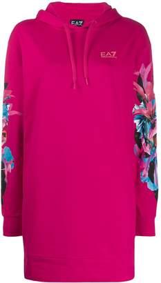 Emporio Armani Ea7 long floral printed hoodie