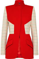 Alexander McQueen Checked Paneled Wool-blend Jacket - Red