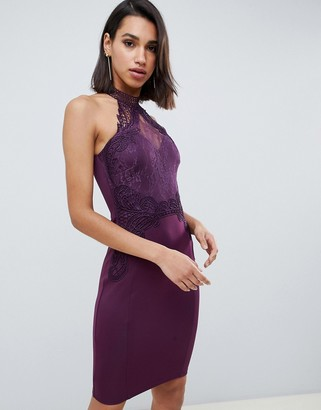Lipsy high neck lace bodycon dress in purple