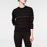 Paul Smith Women's Black Wool Sweater With Metallic 'Rainbow' Stripes