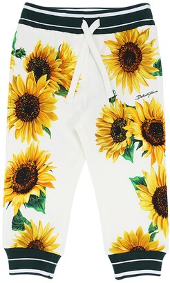 Dolce & Gabbana Sunflower Print Cotton Sweatpants