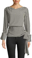 Alice + Olivia Alba Crossover Striped Tie-Waist Silk Blouse