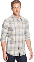 Tasso Elba Long-Sleeve Soft Cotton Plaid Shirt